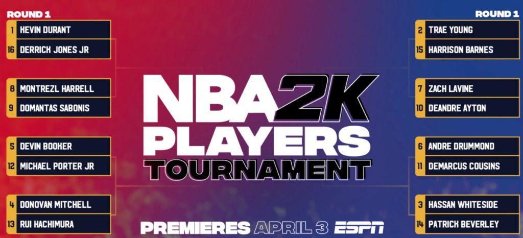 Le tableau du tournoi NBA2K des joueurs NBA